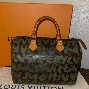 authentic Louis Vuitton Khaki graffiti speedy 30